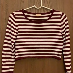 maroon striped cropped sweater